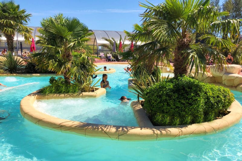 Swimming pool sunny weather camping